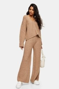 Topshop Camel Lounge Knitted Hoodie And Trousers Co-Ord | neutral knitted loungewear