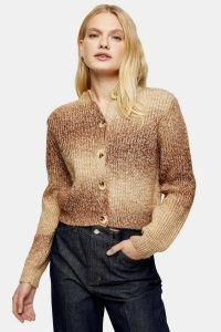 Topshop Camel Tie Dye Knitted Cardigan | front button cardigans