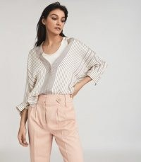 REISS CARLIE STRIPED BLOUSE CREAM