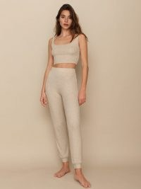 Reformation Carmel Two Piece – rib knit loungwear co ords – leggings and crop top set