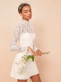 REFORMATION Carraway Dress ~ ivory lace mini length bridal dresses ~ high neck ~ beautiful alternatives to wedding gowns