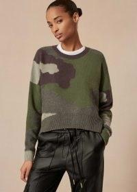 Me+Em Cashmere Camouflage Jumper ~ meandem knitwear ~ camo patterned jumpers ~ khaki green sweater