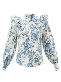 ERDEM Caterina Toile de Jouy-print cotton-poplin blouse / French floral prints