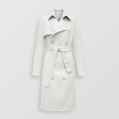 BURBERRY Cotton Gabardine Panel Cashmere Trench Coat ~ luxe classics ~ outerwear - flipped