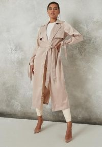 MISSGUIDED champagne satin trench coat ~ cuff tie detail coats