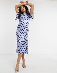 Chi Chi London spot tea dress in spot print ~ satin look dresses