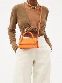 JACQUEMUS Chiquito Long orange-leather cross-body bag / small top handle handbag / bright crossbody bags