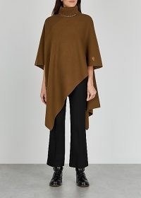CHLOÉ Brown roll-neck cashmere poncho ~ chic high neck ponchos