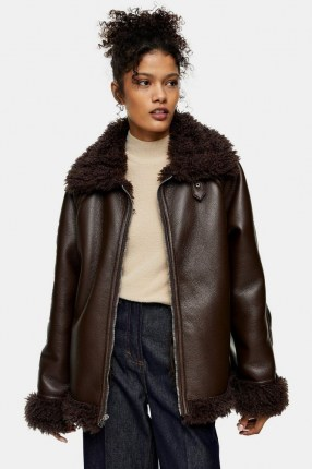 TOPSHOP Chocolate Brown Shearling PU Jacket / faux fur lined jackets - flipped