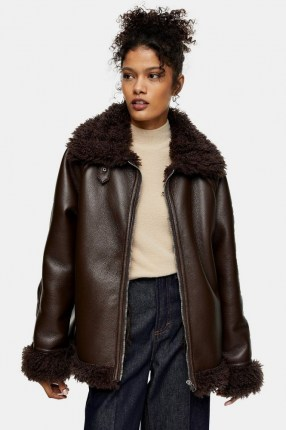 TOPSHOP Chocolate Brown Shearling PU Jacket / faux fur lined jackets