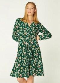 L.K. BENNETT CHRISTY GREEN ANEMONE PRINT SILK DRESS / floral tie waist dresses