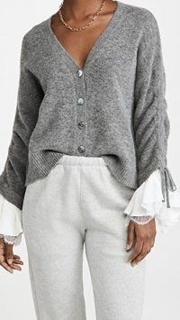 Cinq a Sept Atlas Cardigan | ruched sleeve cardigans