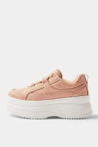 TOPSHOP CLARA Blush Pink Flatform Lace Up Trainers / chunky soled trainer / thick soles