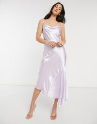 Closet London cowl neck asymmetric satin midi dress in lilac ~ draped hem cami strap dresses