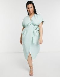 Closet London Plus kimono wrap tie midi dress in sage ~ green plus size dresses ~ curvy fashion