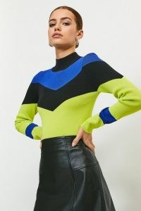 KAREN MILLEN Colour Block Funnel Neck Jumper / colourblock jumpers
