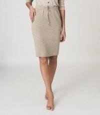 REISS CONNIE KNITTED MIDI SKIRT NEUTRAL ~ drawcord waist skirts