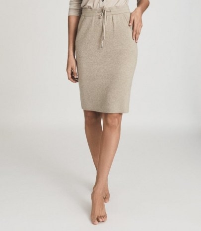 REISS CONNIE KNITTED MIDI SKIRT NEUTRAL ~ drawcord waist skirts - flipped
