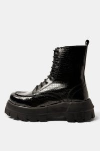 Topshop CONSIDERED VERITY Vegan Black Chunky Lace Up Boots – faux leather thick sole combats