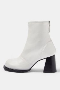 TOPSHOP CONSIDERED VILLA Vegan White Scoop Toe Boots / faux leather flared heel boot / on trend footwear