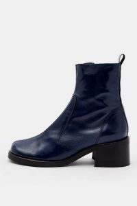 CONSIDERED VIOLA Vegan Navy Round Toe Boots – blue faux leather ankle boot