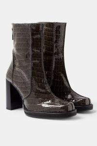 TOPSHOP CONSIDERED VIVIENNE Vegan Patent Grey Croc Platform Boots / crocodile effect faux leather footwear