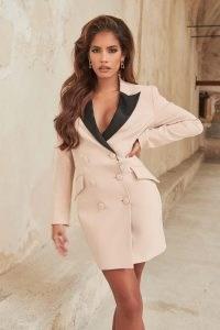LAVISH ALICE contrast blazer dress with satin lapel in clay ~ jacket dresses ~ tuxedo style