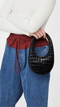 small croc effect handbag / Coperni Mini Swipe Bag / crocodile embossed leather bags