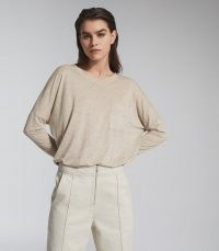 REISS CORALINE FINE JERSEY LONG SLEEVED T-SHIRT NEUTRAL ~ wardrobe essentials