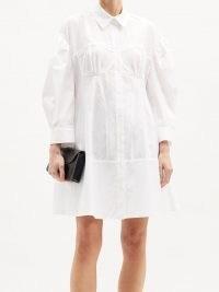 SIMONE ROCHA Corset cotton-poplin shirt dress | white fitted bust dresses
