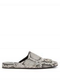 BALENCIAGA Cosy BB-plaque backless python-effec leather loafers | snake embossed flats