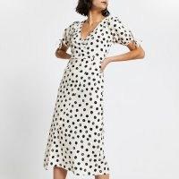 RIVER ISLAND Cream asymmetric wrap midi spot print dress