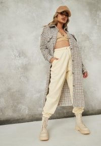MISSGUIDED cream check relaxed utility long shacket ~ longline checked shackets