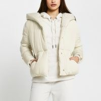 RIVER ISLAND Cream drawcord shawl puffer coat ~ casual style padded jackets