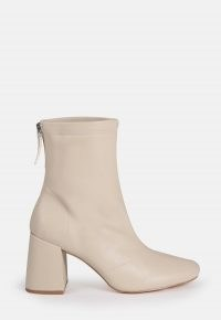 MISSGUIDED cream faux leather block heel sock boots ~ chunky heels