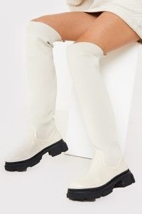 IN THE STYLE CREAM KNEE HIGH SOCK BOOTS ~ monochrome footwear