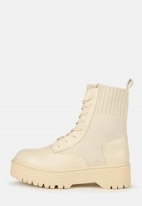 MISSGUIDED cream knitted chunky lace up ankle boots ~ neutral thick sole boot