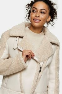 TOPSHOP Cream Panelled Borg Biker Jacket / textured faux fur jackets