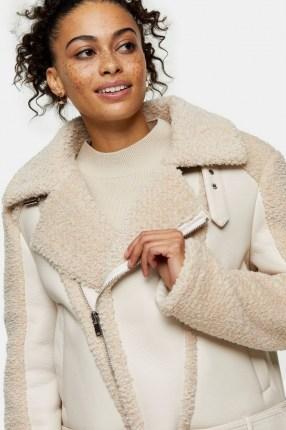 TOPSHOP Cream Panelled Borg Biker Jacket / textured faux fur jackets - flipped