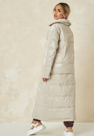 MISSGUIDED cream quilted puffer ~ longline padded coats ~ zara mcdermott x missguided edit - flipped