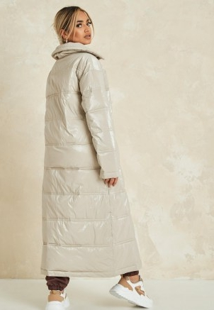 MISSGUIDED cream quilted puffer ~ longline padded coats ~ zara mcdermott x missguided edit
