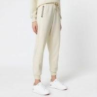 RIVER ISLAND Cream RI monogram trim neoprene joggers ~ cuff hem jogging bottoms ~ sports pants