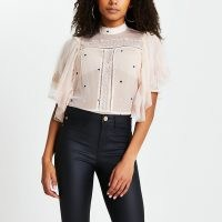 RIVER ISLAND Cream short sleeve frill lace top ~ sheer waterfall sleeved tops