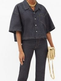 BOTTEGA VENETA Cropped short-sleeve denim shirt ~ dark blue shirts