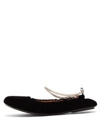 GIANVITO ROSSI Crystal-embellished anklet-chain velvet flats | flat shoes with anklets | black luxe ballerinas