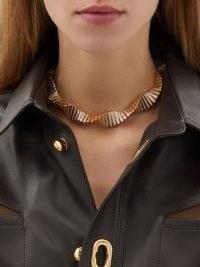 BOTTEGA VENETA Crystal-embellished twisted gold-plated necklace – glamorous statement jewellery – twist design necklaces