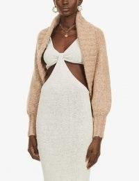CULT GAIA Virginie chunky knitted cardigan ~ light camel shawl style cardigans