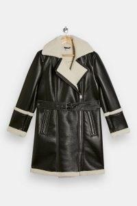 TOPSHOP Dark Green Vinyl Biker Car Coat ~ borg trimmed coats