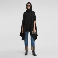 BURBERRY Cut-out Sleeve Jersey Hooded Cape ~ chic black capes with hoods