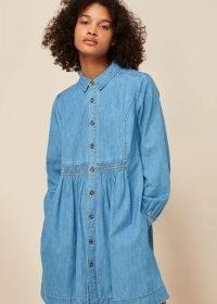 WHISTLES CHAMBRAY DRESS / smocked denim shirt dresses